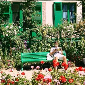 Park Bench in garden of Claude Monet in Giverny