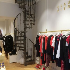 Spiral staircase in clothing shop