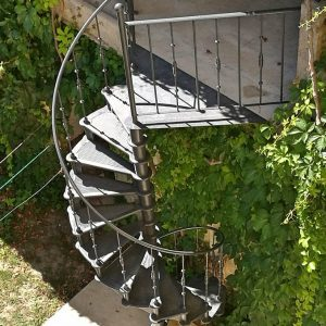Spiral staircase Paris outdoors seen from top