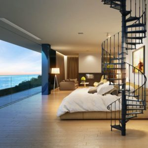Spiral staircase Reims in bedroom with seaview